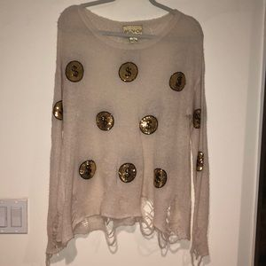 """WILD FOX Money Sign """"S"""" Patched Ripped Sweater"""